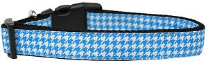 Blue Houndstooth Nylon Dog Collar Medium