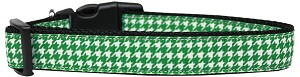 Emerald Green Houndstooth Nylon Dog Collar Large