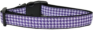 Purple Houndstooth Nylon Dog Collar Medium