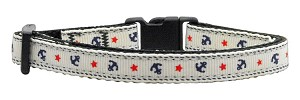 Anchors Nylon Ribbon Collar White Cat Safety