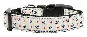 Anchors Nylon Ribbon Collar White Medium