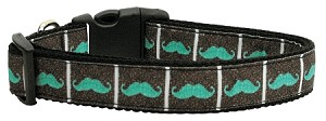 Aqua Moustaches Ribbon Dog Collars Large