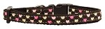 Argyle Hearts Nylon Ribbon Collar Brown X-Small