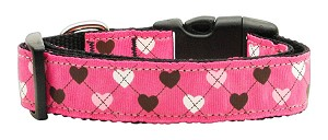 Argyle Hearts Nylon Ribbon Collar Bright Pink Medium