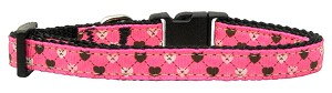 Argyle Hearts Nylon Ribbon Collar Bright Pink Small