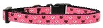 Argyle Hearts Nylon Ribbon Collar Bright Pink X-Small