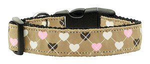 Argyle Hearts Nylon Ribbon Collar Tan Large