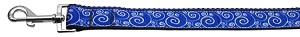 Blue and White Swirly Nylon Ribbon Pet Leash 1 inch wide 6Ft Lsh