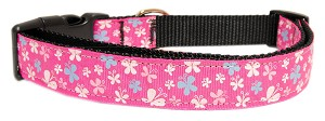 Butterfly Nylon Ribbon Collar Pink Large