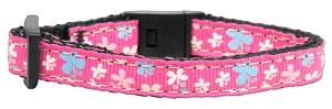 Butterfly Nylon Ribbon Collar Pink Cat Safety