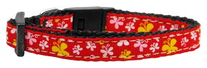 Butterfly Nylon Ribbon Collar Red XS