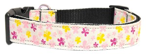 Butterfly Nylon Ribbon Collar White Large