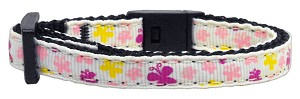 Butterfly Nylon Ribbon Collar White Cat Safety