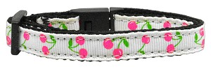 Cherries Nylon Collar White Cat Safety