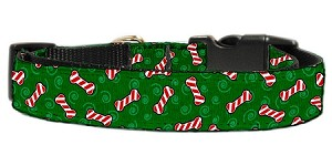 Candy Cane Bones Nylon and Ribbon Collars . Medium