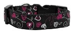 Crazy Hearts Nylon Collars Black Medium