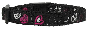 Crazy Hearts Nylon Collars Black Cat Safety