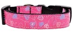 Crazy Hearts Nylon Collars Bright Pink Medium