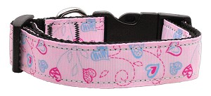 Crazy Hearts Nylon Collars Light Pink Medium