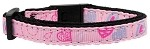 Crazy Hearts Nylon Collars Light Pink Cat Safety