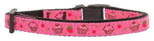 Cupcakes Nylon Ribbon Collar Bright Pink Cat Safety