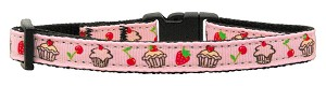 Cupcakes Nylon Ribbon Collar Light Pink Cat Safety