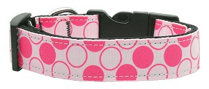 Diagonal Dots Nylon Collar Light Pink Medium