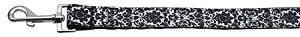 Fancy Black and White Nylon Ribbon Pet Leash 1 inch wide 4Ft Lsh