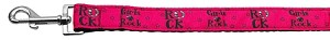 Girls Rock Nylon Ribbon Pet Leash 1 inch wide 4Ft Lsh
