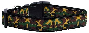 Green Camo Nylon Ribbon Dog Collars Medium