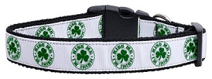 Kiss Me - I'm Irish Nylon Ribbon Dog Collars Medium