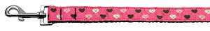 Argyle Hearts Nylon Ribbon Leash Bright Pink 1 inch wide 4ft Long