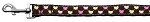 Argyle Hearts Nylon Ribbon Leash Brown 1 inch wide 4ft Long