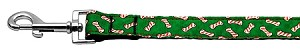 Candy Cane Bones Nylon and Ribbon Collars . 1'' wide x 4' Leash
