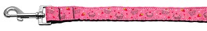 Cupcakes Nylon Ribbon Leash Bright Pink 1 inch wide 6ft Long