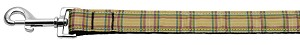 Plaid Nylon Collar Khaki 1 wide 6ft Lsh