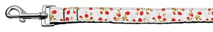 Roses Nylon Ribbon Leash Red 1 inch wide 4ft Long