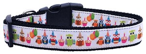 Party Owls Nylon Ribbon Collars Large