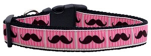 Pink Striped Moustache Ribbon Dog Collars Large