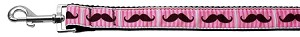 Pink Striped Moustache Ribbon Dog Collars 1 wide 6ft Leash