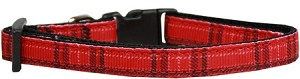 Plaid Nylon Collar Red Cat Safety
