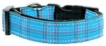 Plaid Nylon Collar Blue Medium