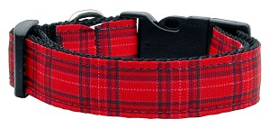 Plaid Nylon Collar Red Large