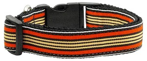 Preppy Stripes Nylon Ribbon Collars Orange/Khaki Medium