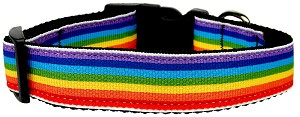 Rainbow Striped Nylon Collars Rainbow Stripes Medium