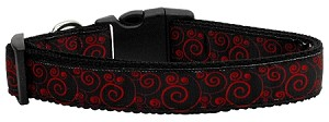 Red and Black Swirly Nylon Ribbon Dog Collars Large