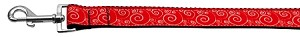 Red and White Swirly Nylon Ribbon Dog Collars 1 wide 4ft Leash