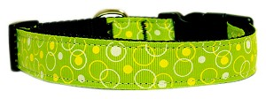 Retro Nylon Ribbon Collar Lime Green Medium