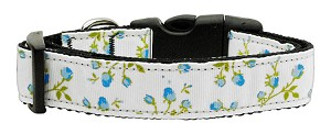 Roses Nylon Ribbon Collar Blue Large