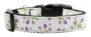 Roses Nylon Ribbon Collar Purple Medium